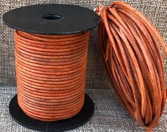 1.5mm Round Leather Cord Distressed Tangerine Natural Dye 1 Yard to 15 yards 1.5mm ND Leather Cord Made In India - LCR1.5-3021