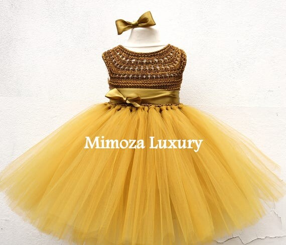 Rustic Gold Tutu dress, gold birthday dress, gold flower girl dress, golden princess dress, gold tulle dress, gold luxury girls dress