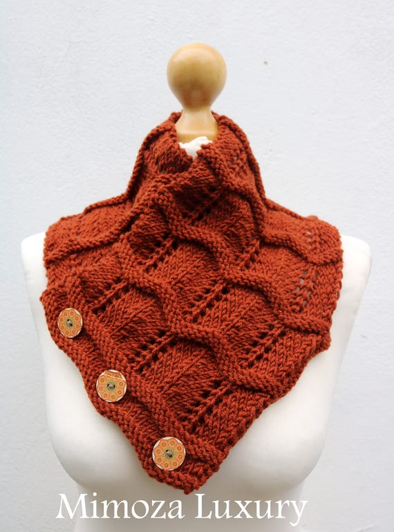 Rust Brown Merino Wool Hand Knitted Scarf, Knit scarf wrap rust Brown Scarf, Shawl, Wrap, Neck warmer, Brown knit scarf, women's knit scarf