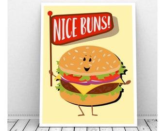 Nice Buns BBQ Printable, Hamburders, Party Decorations, Funny Pun Art, Birthday, Picnic Decor, Birthday Sign, Condiments, Puns, Punny