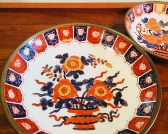 Japanese Porcelain Ware, Brass Porcelain Bowl, Hong Kong Brass