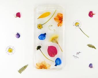 iPhone 6/6s case with brightly coloured real pressed flowers