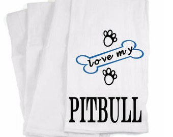 Pitbull Hand Towel, Cotton Hand Towel, Pitbull Dish Towel, Personalized Towel, Designer Tea Towel, Home and Living, Kitchen Decor