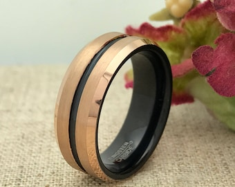 8mm Personalized Black and Rose Gold Tungsten Ring, Wedding Band, Custom Promise Ring for Him, Purity Ring, Custom Date Ring, Groomsmen Ring
