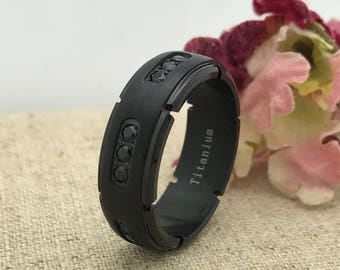 8mm Personalized Titanium Ring, Custom Engraved Anniversary Ring, Black Eternity CZ Wedding Ring, Promise Ring, Promise Ring for Him