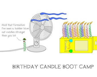 Birthday Candle Boot Camp - greeting card - birthday - funny - ID #001