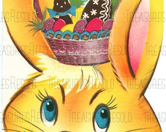 Retro Bunny With Easter Basket On His Head Easter Card #658 Digital Download