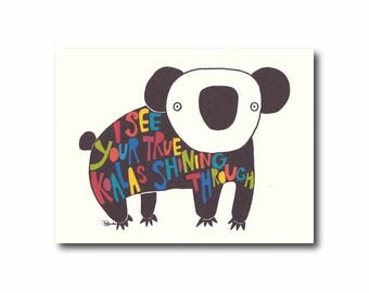 Koala card, Pun card, LGBT card, Cute friendship card, Just because card, Koala illustration