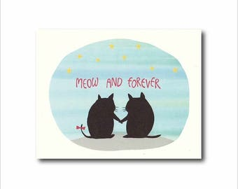 Cat pun card, Love pun card, Forever love card, Now and forever, Black cat greeting,  Cute cat message card