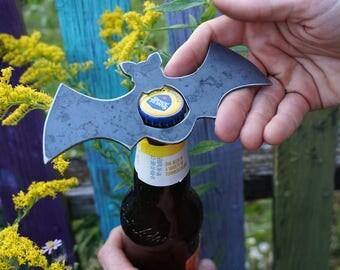 Bat Rustic Raw Steel Recycled Metal Industrial Bottle Opener, Travel Gift, wedding favor, Party gift, beer opener