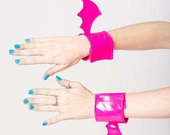 Pink PVC Bat Wing Cuffs Vegan Leather