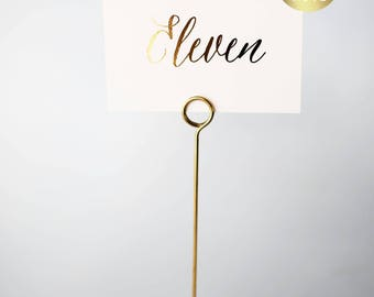 gold foil table numbers (single-sided) // gold foil / rose gold foil / silver foil / calligraphy wedding table numbers