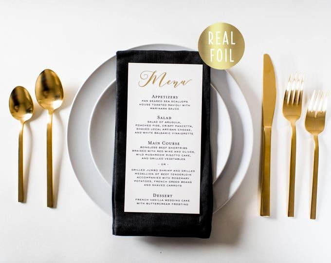 NEW!  millie gold foil wedding menus  // gold foil / rose gold foil / silver foil calligraphy romantic custom modern wedding menu