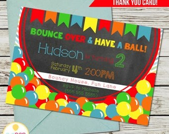 BOUNCE HOUSE Birthday Invitation, Jumping Birthday Party, Jump Party, Colorful, Chalkboard Invitation, Thank You Card, Printable