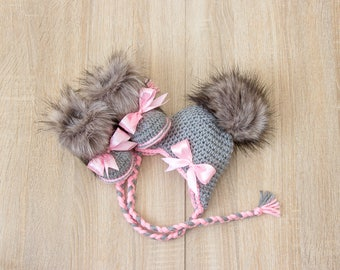 Baby girl faux fur Hat and Booties - Hat and boots with bows - Baby Girl clothes - Newborn girl clothes - Baby girl gift - Preemie clothes