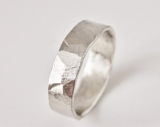 Silver Flat Hammered Ring