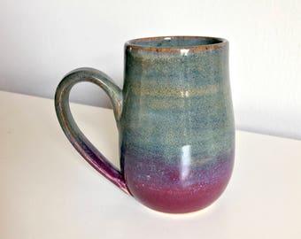13 oz Handmade Mug / Wheel Thrown  / Olive Green / Purple / Violet / Brown
