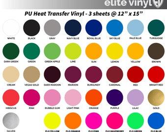 "3 sheets @ 12"" x 15"" Heat Transfer Vinyl - Iron On or Heat Press - HTV - FAST SHIP!!"