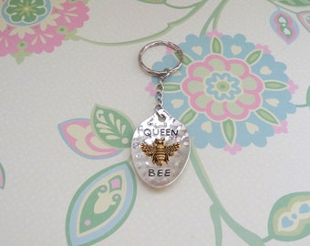 Silver and Gold Queen Bee Keychain/Bumblebee Keychain/Honey Bee Keychain/Bee Keychain - Ready to Ship