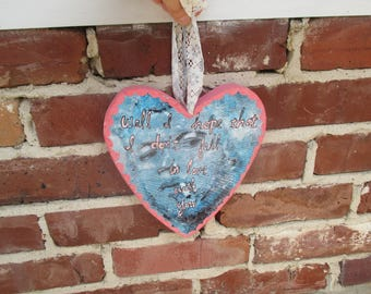 tom waits heart . print of original painting on wood heart . i hope i don't fall in love with you . tom waits wall art . lovesick . blues