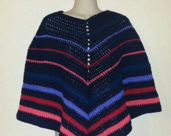 Colorful poncho, Shawl, Multi-colored poncho/shawl, Crochet poncho, Unique