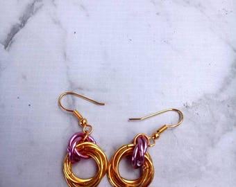 Gold Ring Rose Earrings