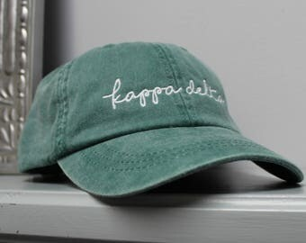 Kappa Delta Forest Green Hat Embroidered in White Script