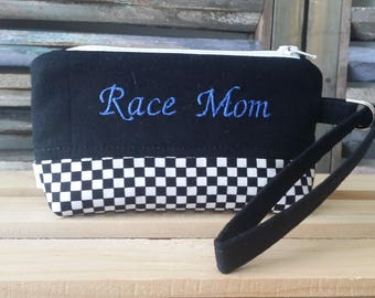 Race Mom Wristlet Zippered Pouch