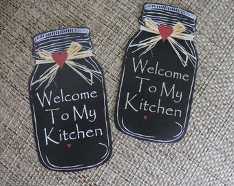 Kitchen Magnets | Country Kitchen Fridge Magnet | Mason Jar Decor | Kitchen Decor | Country Kitchen Magnets | Welcome To My Kitchen