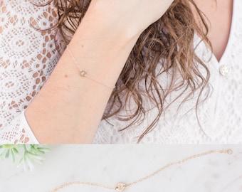 Tiny Disc Initial Bracelet, Personalized Disc Letter Bracelet, Minimalist Bracelet, Dainty Disc Bracelet, Custom Bracelet Gift for Her, Wife