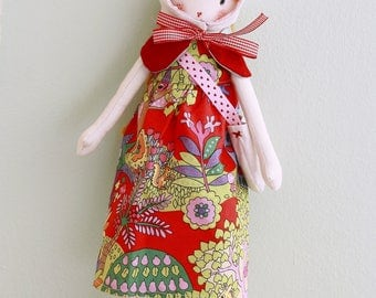 Anna made rag doll handmade dress Hat bag felt boots. READY TO SEND