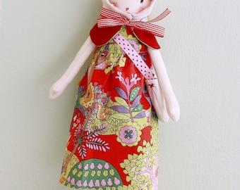Anna made rag doll handmade dress Hat bag felt boots