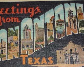 Greetings From San Antonio, Texas Large Letter Vintage Linen Postcard UNUSED