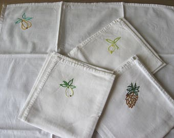 Hand Embroidered Fruit, French Linen Napkins. Large vintage quality white thick cotton serviettes; stitched pineapple, lemon, pear. Fun gift