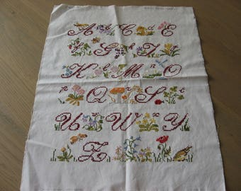 French Alphabet Sampler. Completed cross stitch on linen. Freres Steiner pattern 1983. Letters, flowers, garden design. Make as pillow cover