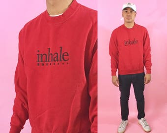 Vintage red sweater inhale small 1990s 1980s graphic sweater oversized vintage sweatshirt