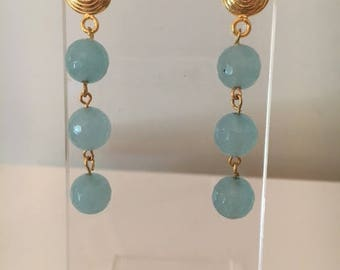 Light Blue Chalcedony and Gold Vermeil Earrings
