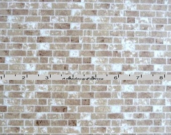 Tan Brick Fabric, Landscape Quilt Fabric, Fresh Water Designs FWDNAE02 Tan, Natural Elements Collection, Brick Wall Fabric, Cotton