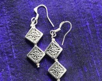 Celtic knot silver earrings