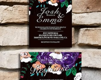 Purple Floral Wedding Invitation Set with Response Cards