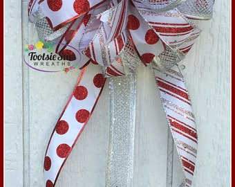 Christmas Package Bow,Red Silver White Glittered Bow, Lantern Bow, Christmas Tree Bow, Wreath Bow, Basket Bow, Christmas Bow, Basket Bow