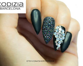 Matte black-Crystals-Holographic Black Glitter-Handmade with UV Gel-Every Nail Shape Avaiable-Fake Nails-Press On Nails - False Nails