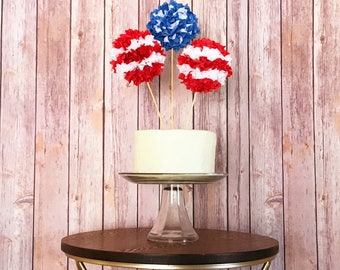 Patriotic Stars and Stripes Cake Topper - Red, White, & Blue - Independence Day, Labor Day, Memorial Day, 4th of July