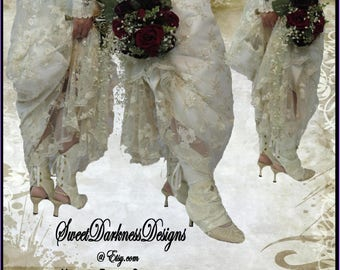 Steampunk BRIDAL SPATS Ivory Lace Victorian Bridal Spats Vintage Bridal Spats ShoeCovers Steampunk Wedding Spats by SweetDarknessDesigns