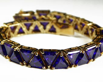 Vintage Amethyst And Sterling Tennis Bracelet - Sterling Silver With Gold Plating - Vintage Regency Style Bracelet - Bridal Bracelet