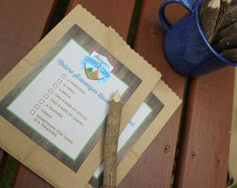 Summer Camp Birthday Party activity and game signs, scavenger hunt, camp itinerary - camp party, camping, s'mores, glamping, printables