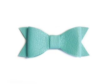 Baby bows mint hair clip baby girl bows barrettes hair accessories bow clips hair clip bows for toddlers baby girl leather bows