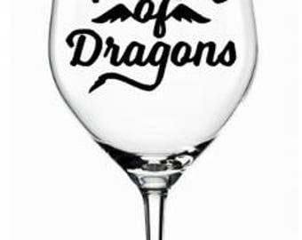 Game Of Thrones Wine Glass | Mother of Dragons
