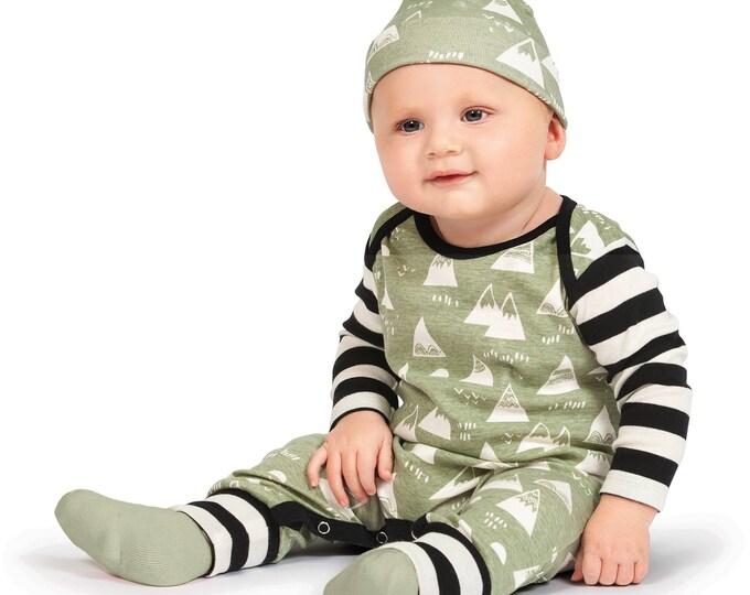 Baby Boy Bodysuit Romper, Baby Boy Shower Gift, Nature Woodlands Long Sleeve Romper, Mountains, Nature, Green, Black, TesaBabe RP810MTIB0000