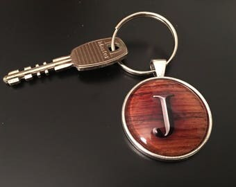 Key Chain -  Teak Wood Alphabet Image under glass dome. 26 options